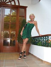 DOLCE&GABBANA Emerald Green Leopard Print Corset Mini Dress  IT 40 UK 6 8
