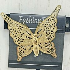 Filigree Layered Flying Butterfly Brooch Pin Spring Gold Tone