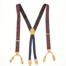 Cole Haan Mens Braces Suspenders Burgundy Navy Blue Brocade Weave Woven Silk