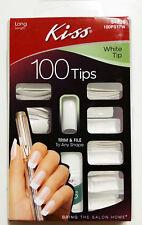 KISS WHITE TIP 100 TIPS #54826 100PS17W LONG LENGTH GLUE ON FALSE NAILS