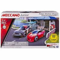 Meccano Junior Police Station Chase Model Building Set With Cars, STEM 156 Pc