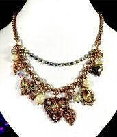 BETSEY JOHNSON COPPER-TONE CHAIN NECKLACE DANGLE FLORAL BUTTERFLY HEART PENDANT