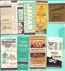 TEN DIFFERENT CALIFORNIA RESTAURANT MATCHBOOK COVERS FROM 1960's