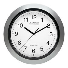 "WT-3102S La Crosse Technology 10"" Atomic Wall Clock - Silver NIB"