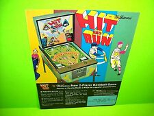 Williams HIT AND RUN Original Baseball Pitch And Bat Pinball Machine Flyer 1970