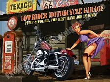Lowrider Motorcycle Garage, Funny Motorbike Chopper, 06 Medium Metal/Tin Sign