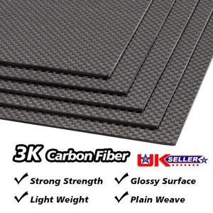 300×200×3mm Carbon Fiber Fiber Plate Panel Sheet 3K Plain Weave Matt Surface UK