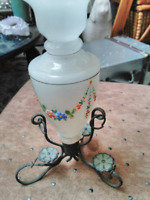 Vintage Milk Glass Bud Vase with Floral Hand Painted and metal holder tripod
