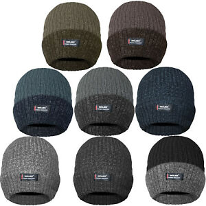 MENS THERMAL BEANIE WOOLLY HAT WARM THICK KNIT RIBBED WARM WINTER LINED CAP