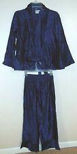 Christine Damen Evening Cocktail Outfit Sz S Jacket Pant Suit 2pc Blue Occasion