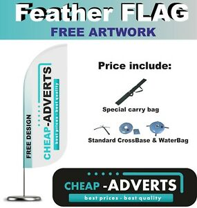 2 x  FEATHER FLAG - 350cm + Pole+Base+Waterbag + DELIVERY
