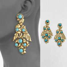 ANTHROPOLOGIE ELEGANT TURQUOISE BLUE GOLD DROP DANGLE EARRINGS NEW