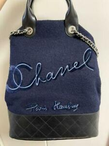Chanel Tote Bag Shopping Purse Chain Shoulder Navy Woman Auth New Unused Rare