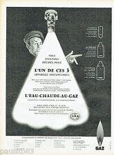 PUBLICITE ADVERTISING 115  1959  Gaz   l'eau chaude