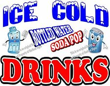 Ice Cold Drinks Decal (Choose Your Size) Soda Water Food Truck Concession