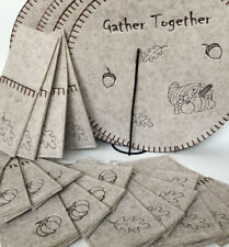 New listing Fall Autumn Gather Together Set 8 Stitched Felt Placemats & 20 Utensil Holders