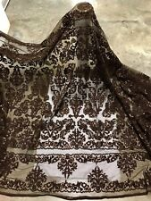 """Brown Beaded Sequins Embroidery Bridal Lace Fabric 50"""" Width Sold By The Yard"""