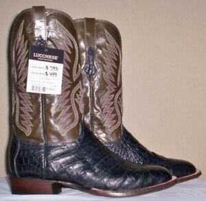 Lucchese Black, Giant Belly Caiman Skin, Style# CL1092,11 2E
