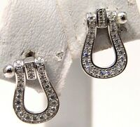 Sterling Silver Horseshoe Stud Earrings Lined with Cubic Zirconia
