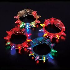 24 Light Up Flashing Spike LED Bracelet - Multi-Colored - Party Raves