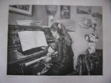 GRAVURE SUR BOIS 19ème  MUSIQUE LA LECON DE PIANO