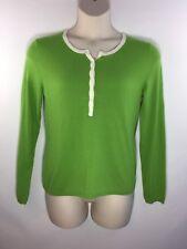 Talbots Geen & White Lambswool Angora Cashmere Ls Half Button Style Sweater Sz M