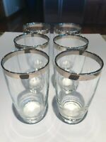 Vintage Mid-Century Glasses DOROTHY THROPE Style Silver Tumblers (6)