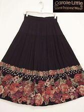 CAROLE LITTLE 2 Tiered Black RAYON w/ Floral print Peasant Broomstick Skirt M/L
