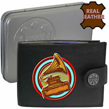 Old Gramophone Mans Black Leather Wallet Music Printed Image Masters Voice gift