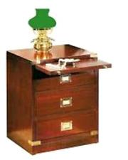 Mobiletto stile marina comodino artigianale in legno di mogano a tre cassetti