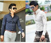 Luxury Mens Short Sleeves Dress Shirts Casual Check Slim Fit Business 6158D54