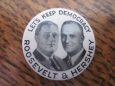 """1932 CELLO BUTTON PIN 1"""" FRANKLIN ROOSEVELT & HERSHEY JUGATE FDR159 $238"""
