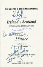 Ireland v Scotland 1998 Rugby Dinner Menu Card & Guest List Signed