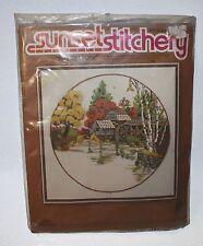 Vintage New Sunset Stitchery Embroidery Kit Crewel Fall Mill Pond 16x16 Sealed