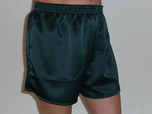 Bottle Green Glossy   Poly Satin Boxer Shorts Medium with  Free Postage
