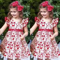 Toddler Kids Baby Girls XMAS Deer Bowknot Pageant Party Wedding Princess Dress