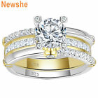 Newshe Wedding Engagement Ring Set Yellow Gold Sterling Silver Round Aaaaa Cz