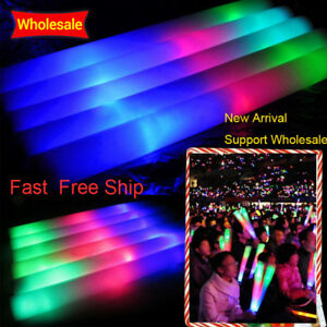 AU 100Pcs 40CM LED Light-up Foam Glow Sticks Flashing for Rally Party Concert