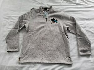 San Jose Sharks NHL Hockey Adidas Pullover 1/4 Zip Sweater XL Retail $90
