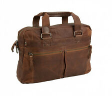 NEW ANDREW MARC LEATHER BOWERY TOP ZIP BRIEFCASE WITH SHOULDER STRAP COGNAC