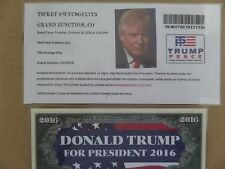 DONALD TRUMP, 10-18-2016, WEST STAR AVIATION, GRAND JUNCTION, CO., RALLY TICKET