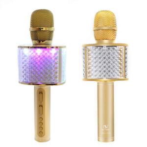Wireless Bluetooth Karaoke Microphone USB Speaker Mic Home KTV w/ LED