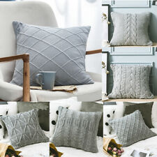 Gray Knitted Pillowcase Throw Sofa Office Bed Waist Cushion Pillow Cover Decor