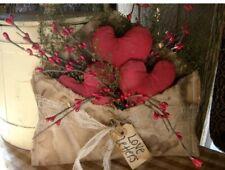 Primitive handmade Valentines Red Heart Love Letter Shelf Sitter