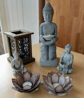 Luxus Buddha Deko Set, Skulptur Wasserrose Teelichthalter Holz Laterne, sehr gut