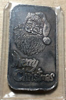 1986 Merry Christmas Silver Towne 1 Ounce .999 Silver Art Bar