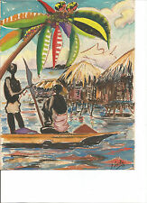 Acuarela Firmada Barca e indígenas Fernando Poo Firmada 1957
