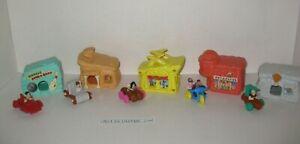 1993 McDonald's Happy Meal Toy Flintstones 5 Houses & Vehicles Complete Set NICE