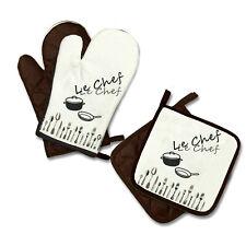 """Küchenhandschuhe Handschuhe 1 Paar + 2 Topflappen """"Le Chef"""""""