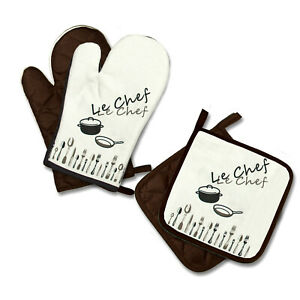 "Ofenhandschuhe 1 Paar + 2 Topflappen Topfhandschuhe Backhandschuhe ""Le Chef"""